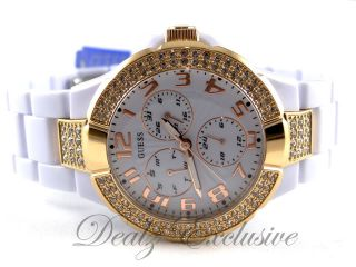 GUESS U13608L1 White Rose Gold tone Polycarbonate Crystal Watch
