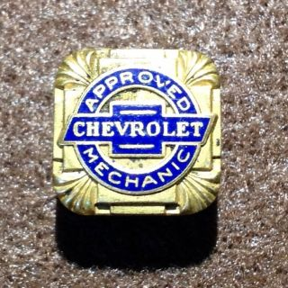 Antique Chevrolet Approved Mechanic Lapel Pin Button