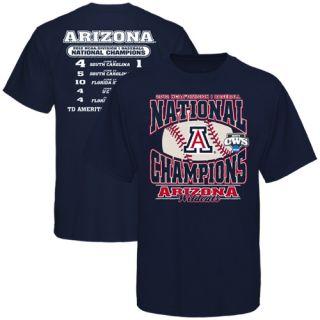 Arizona Wildcats College World Series Champions Score T Shirt   Navy