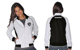 Oakland Raiders Womens White Black Sprint Track Jacket