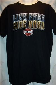 New Arkport New York Live Free Ride Hard Harley Davidson T Shirt Mens
