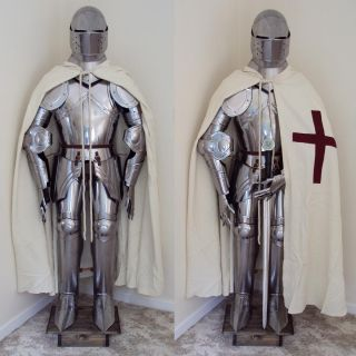 English Grand Crusader Suit of Armour Stand Full Size Fully Wearable