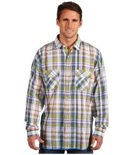 Arnold Zimberg Mens Woven Shirt Long Sleeve Blue Green Medium NWT