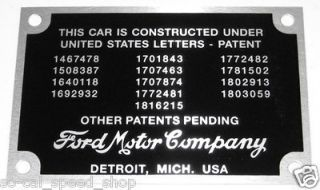 1932 34 FORD PATENT DATA PLATE RIVETS RAT HOT ROD TAG BODY ID VTG