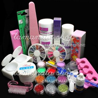 Pro Full Acrylic Powder Liquid Nail Art Kit Block Glitter Brush Glue