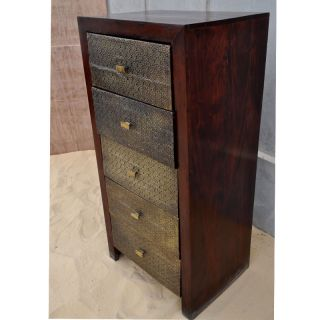 Handmade Solid Wood Brass Sheet 5 Storage Drawer Jewelry Armoire Chest