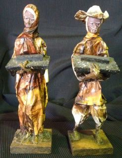 Vintage Mexican Folk Art Paper Mache Figures Man Woman