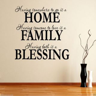 Family Blessing Wall sticker Art paper wall Quote decor decal vinyl
