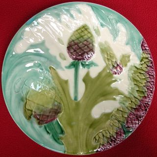Antique French Majolica Asparagus Plate Luneville 1880