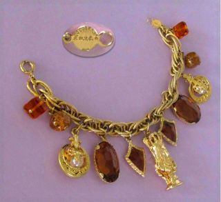 NYC Camelot King Arthur Amber Crystal Charm Bracelet