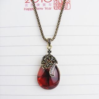 2012 New Arrivals Vintage Red Teardrop Pendant Long Chain Necklace