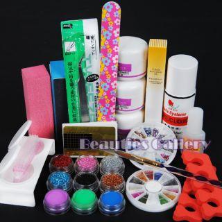 Pro Acrylic Powder Liquid Kits Nail Art Tip Kit Dust Polish Set Kits
