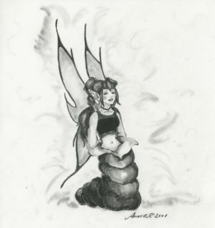 Elfin Butterfly Cocoon Original Charcoal Fantasy Art Drawing