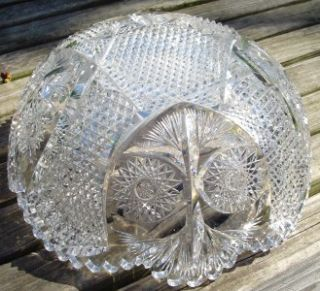 Stunning Antique abp Signed Fry Cut Glass Bowl American Brilliant