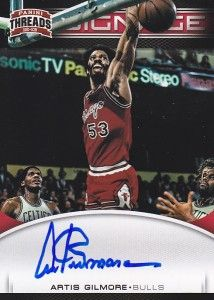 Artis Gilmore 12 13 Panini Threads Auto on Card Signage SP
