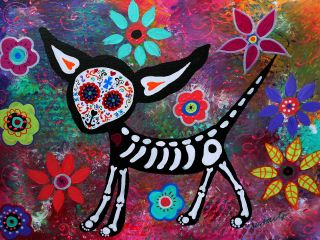 Print Signed Mexican Folk Art Day of The Dead Chihuahua Dog Painting