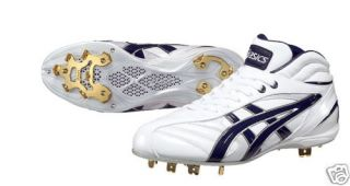 Asics Bbaseball Cleats White Dark Blue Size 11 US