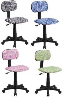 New Zebra Print Desk Task Dorm Room Armless Chairs Black Blue Green or