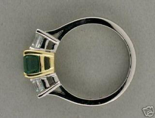 Estate 1910 Asscher Cut Columbian Emerald Diamond Platinum Yellow Gold