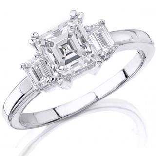 98 Ct. 3 Stone Asscher Cut Diamond Ring 14K Gold