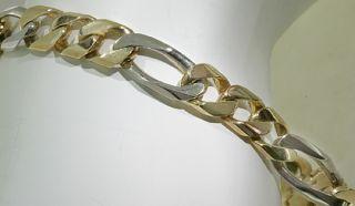 Mans 10K Yellow White Gold Figaro Link Bracelet 21 Grams