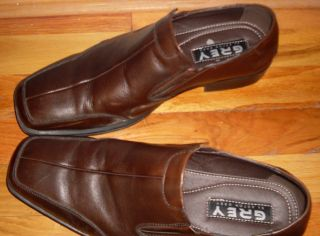 Mens Grey by Aston Grey Brown Leather Slip on 10 5 M
