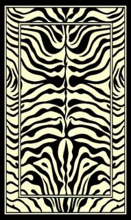 Zebra Skin Print Woven 5x8 Area Rug Off White new ACTUAL SIZE 52 x 7