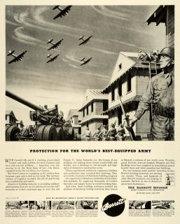 1943 Ad Barrett Asphalt Shingles Roll Roofing Army Barrack