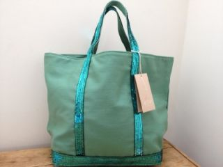 Vanessa Bruno BNWT Jade Green Sequin Canvas Cabas Moyen Tote Bag
