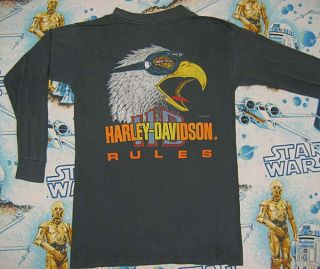 Vtg Harley Davidson Rules Black Long Sleeve T Shirt M 90s Biker Faded