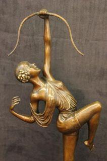 Diana The Huntress Elegant Bronze on Marble Base Statue Art Deco