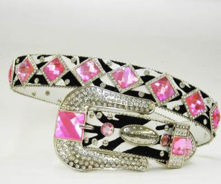 Pink Diamond Rhinestone Western Buckle Cowboy Girl Atlas Belt
