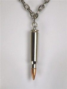 Nickle Bullet Necklace Heavy Metal Death War Black Punk