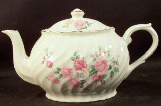 Arthur Wood Staffordshire England 6385 6 Cup Teapot White Pink Flowers