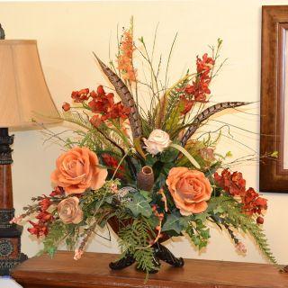Artificial grecian urn flower arrangements for Fall fake flower arrangement ideas