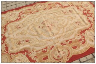 x8 French Aubusson Area Rug Muted Soft Antique Red Beige Rose