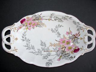 Franz Anton Mehlem Earthenware Oval Platter 13 1870 1920 Hand Painted