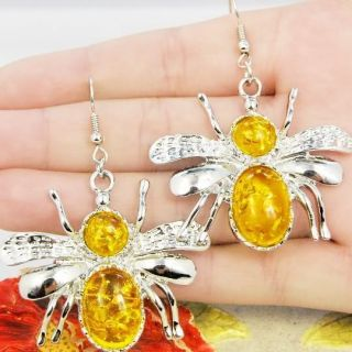 PRESSED BALTIC AMBER INSECT BUG BEE DANGLE EARRINGS NEW ARRIVALS