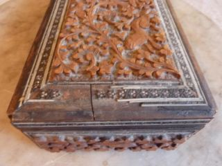 Antique Anglo Indian Carved Wooden Sadeli Trinket Box