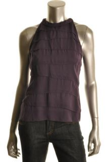 Vince New Purple Chiffon Tiered Sleeveless Shirt Blouse Top 2 BHFO