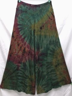 Tie Dye Stretch Viscose Spandex Wide Flare Pants Gauchos Sz XL Boho