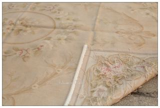 FREE SHIP 4X6 Aubusson Area Rug ANTIQUE PASTEL BEIGES Wool Woven