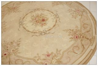 7X7 FT. ROUND Aubusson Area Rug ANTIQUE FRENCH PASTEL Wool Flat Weave