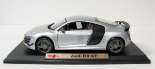 Audi R8 GT Diecast Model Car Maisto Special Edition Silver 1 18 Scale