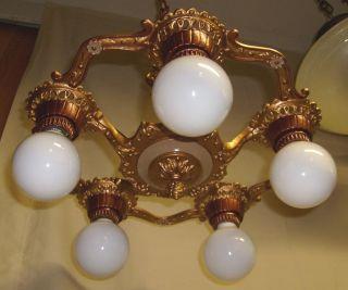 Art Deco 5 Light Cast Iron Chandelier/ Restored/ Custom Finish