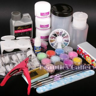Acrylic Powder Liquid 12 Color Nail Art Kit Tip 112