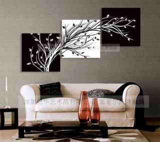 Modern Abstract Huge Wall Art Oil Painting on Canvas Black White Tree