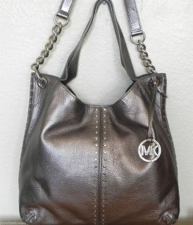 MICHAEL KORS Gunmetal Leather ASTOR Large Chain Shoulder Tote Bag