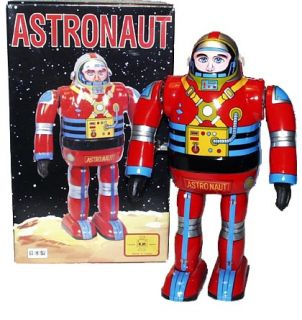 Japan Astronaut Robot Wind Up Osaka Tin Toy Metal House