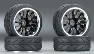 Integy 1 10 Touring Car 14 Spoke Alloy Wheel and Tire Set